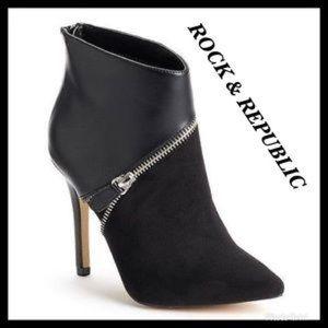 Rock & Republic Corbett Solid Black Booties SZ 10